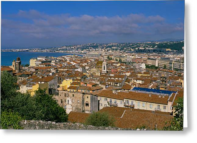 Nice Day Greeting Cards - Aerial View Of A City, Nice, France Greeting Card by Panoramic Images