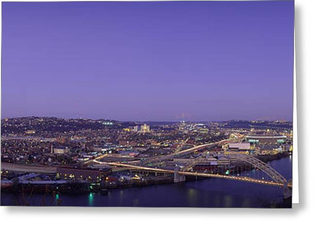 Aerial View Of A City, Pittsburgh Greeting Card by Panoramic Images