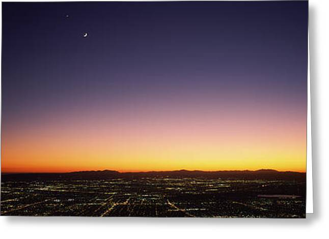 Moonrise Greeting Cards - Aerial View Of A City, San Fernando Greeting Card by Panoramic Images
