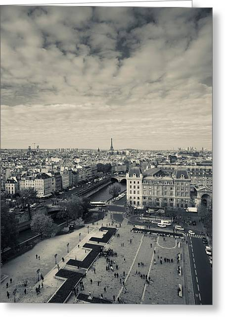 Town Square Greeting Cards - Aerial View Of A City Viewed From Notre Greeting Card by Panoramic Images