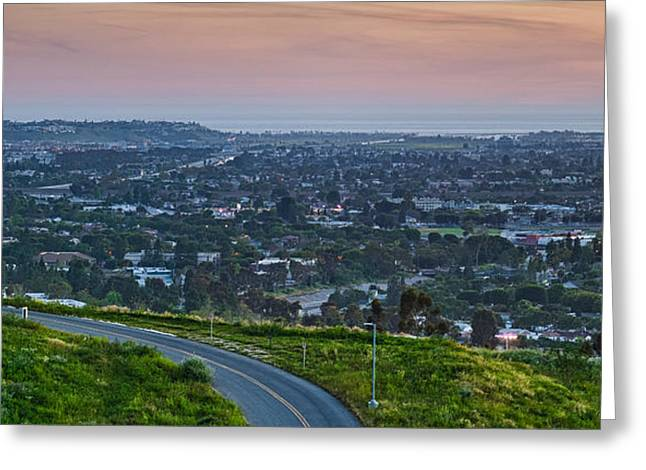 Road Travel Photographs Greeting Cards - Aerial View Of A City Viewed Greeting Card by Panoramic Images