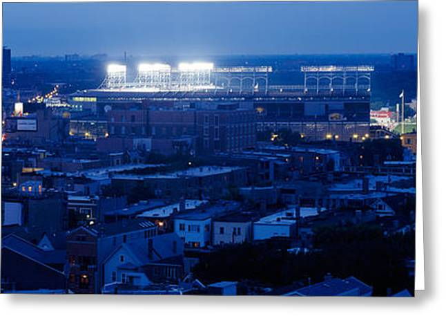 Wrigley Field Greeting Cards - Aerial View Of A City, Wrigley Field Greeting Card by Panoramic Images