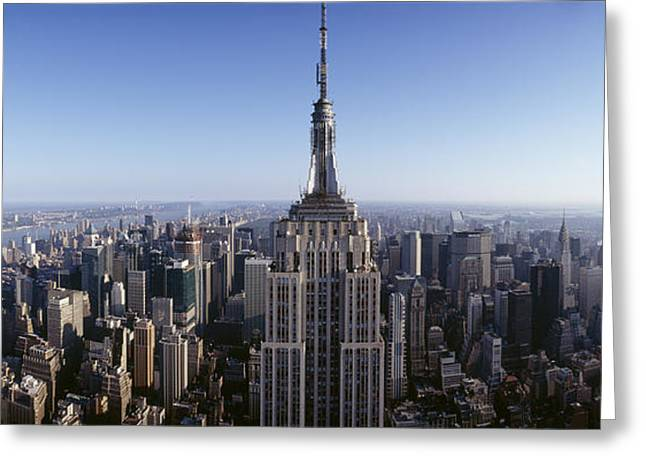 Empire State Building Greeting Cards - Aerial View Of A Cityscape, Empire Greeting Card by Panoramic Images