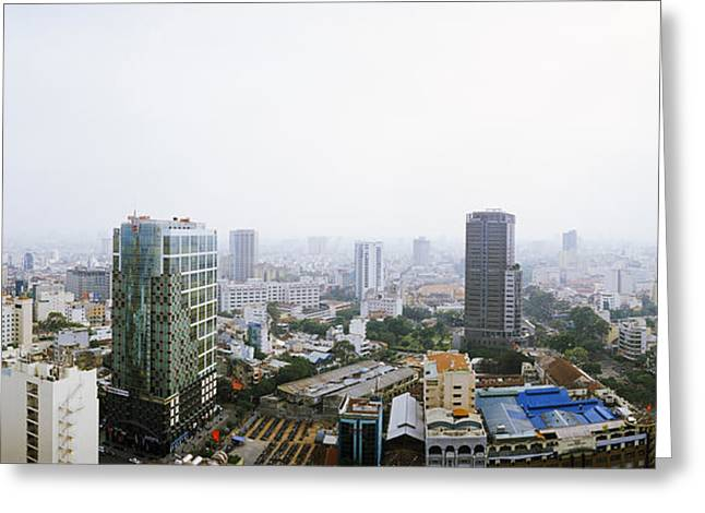 Ho Ho Ho Greeting Cards - Aerial View Of A Cityscape, Ho Chi Minh Greeting Card by Panoramic Images