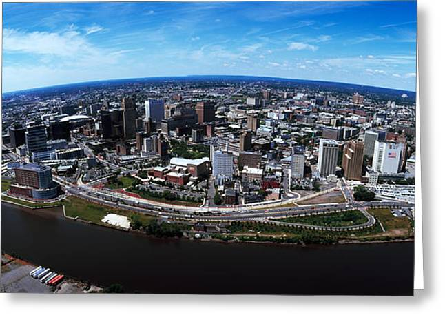 Wide Horizons Greeting Cards - Aerial View Of A Cityscape, Newark Greeting Card by Panoramic Images