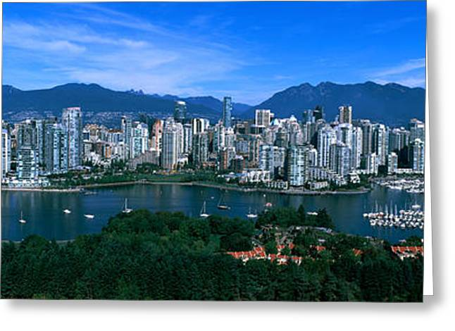 British Columbia Greeting Cards - Aerial View Of A Cityscape, Vancouver Greeting Card by Panoramic Images