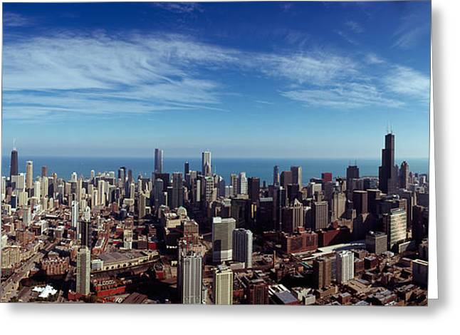 River. Clouds Greeting Cards - Aerial View Of A Cityscape With Lake Greeting Card by Panoramic Images