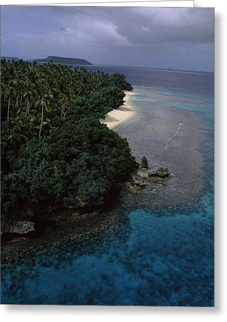 Ocean Images Greeting Cards - Aerial View Of A Coastline, Vavau Greeting Card by Panoramic Images