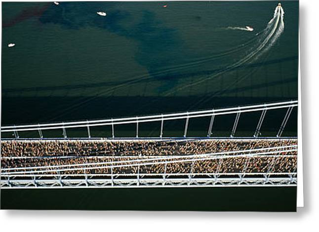 Marathon Greeting Cards - Aerial View Of A Crowd Running Greeting Card by Panoramic Images
