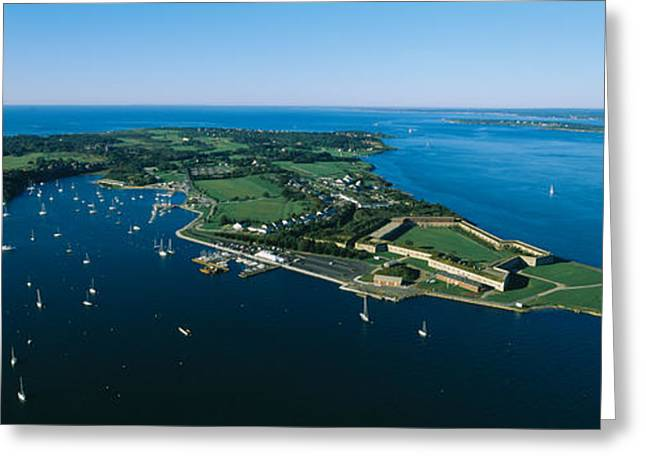 New England Ocean Greeting Cards - Aerial View Of A Fortress, Fort Adams Greeting Card by Panoramic Images