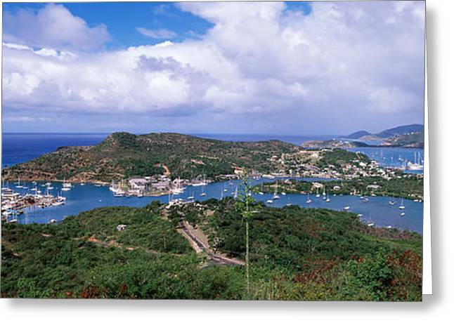 Water Vessels Greeting Cards - Aerial View Of A Harbor, English Greeting Card by Panoramic Images