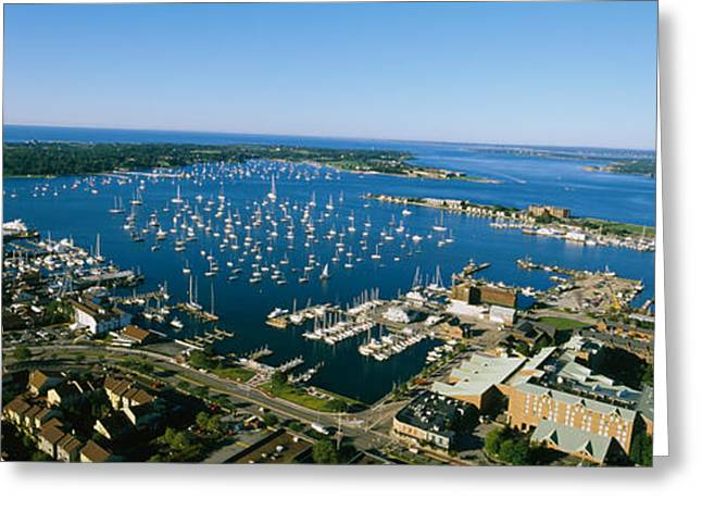 New England Ocean Greeting Cards - Aerial View Of A Harbor, Newport Greeting Card by Panoramic Images