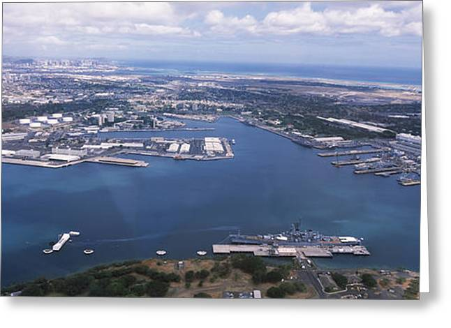 Pearl Harbor Greeting Cards - Aerial View Of A Harbor, Pearl Harbor Greeting Card by Panoramic Images