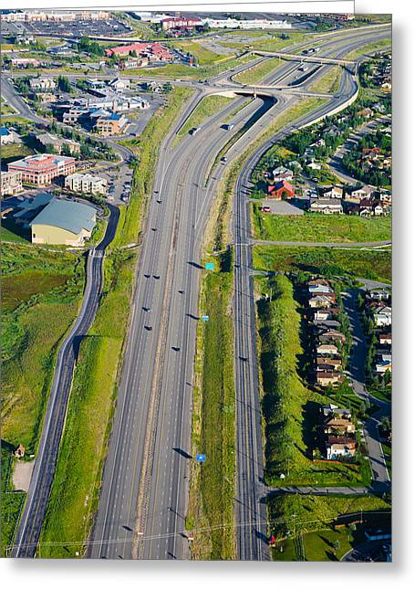 City Photography Greeting Cards - Aerial View Of A Highway Passing Greeting Card by Panoramic Images