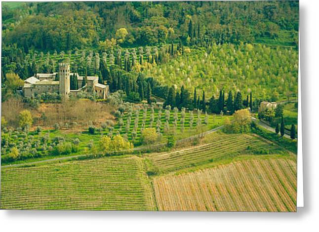 Orvieto Greeting Cards - Aerial View Of A Hotel, Hotel La Badia Greeting Card by Panoramic Images