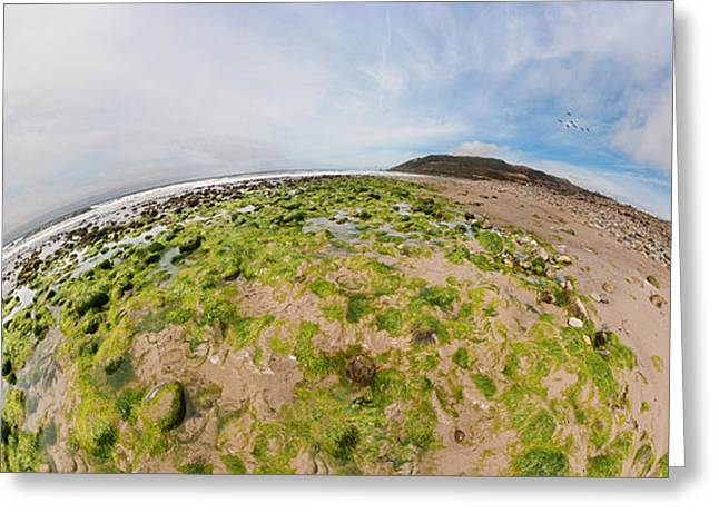 Fish Eye Lens Greeting Cards - Aerial View Of A Landscape, Huntington Greeting Card by Panoramic Images