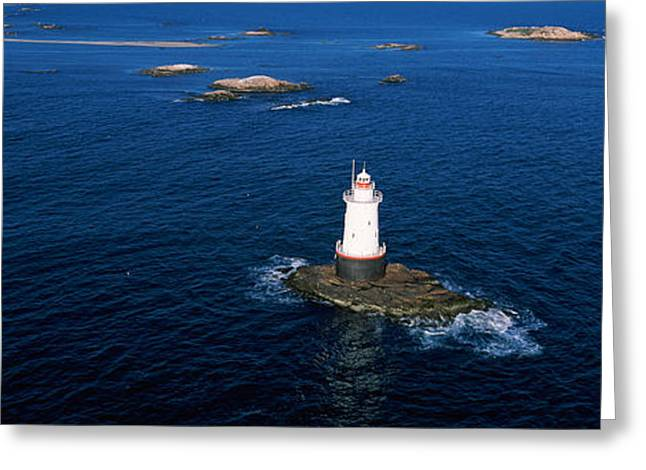 New England Lighthouse Greeting Cards - Aerial View Of A Light House, Sakonnet Greeting Card by Panoramic Images