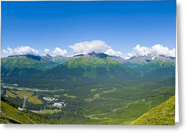 Alaska Scene Greeting Cards - Aerial View Of A Ski Resort, Alyeska Greeting Card by Panoramic Images