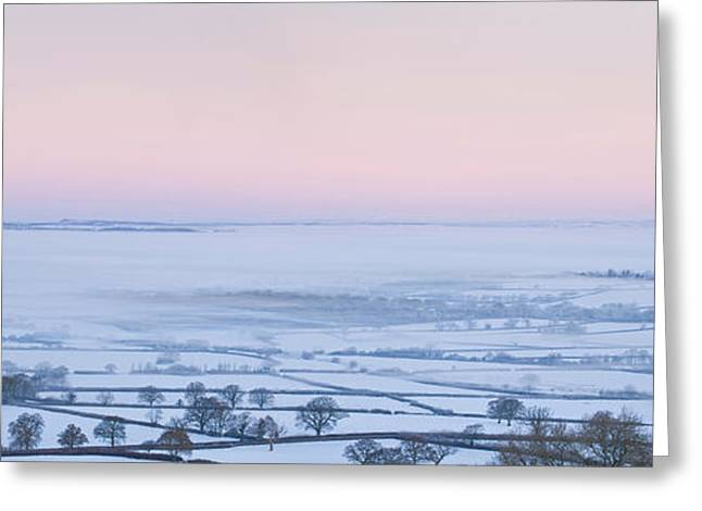 Rural Snow Scenes Greeting Cards - Aerial View Of A Snowy Rural Landscape Greeting Card by Panoramic Images