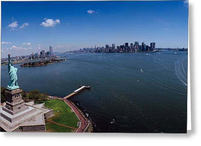 Liberty Greeting Cards - Aerial View Of A Statue, Statue Greeting Card by Panoramic Images