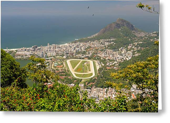 Ipanema Beach Greeting Cards - Aerial View Of A Town On An Island Greeting Card by Panoramic Images
