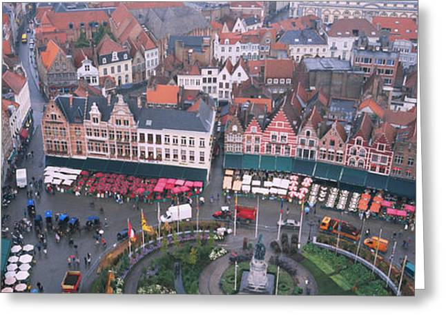 Town Square Greeting Cards - Aerial View Of A Town Square, Bruges Greeting Card by Panoramic Images