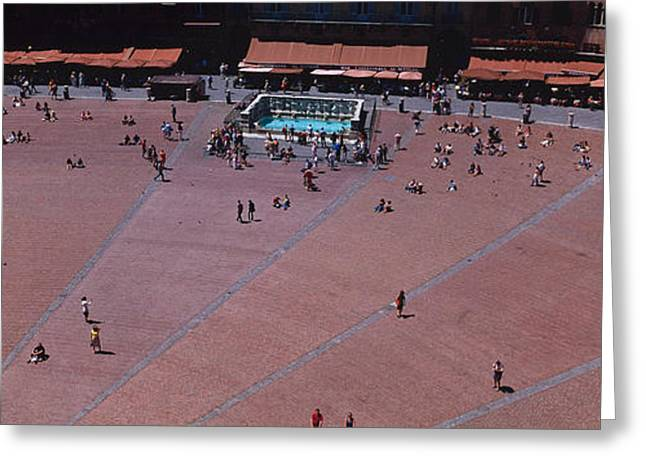Campo Greeting Cards - Aerial View Of A Town Square, Palazzo Greeting Card by Panoramic Images