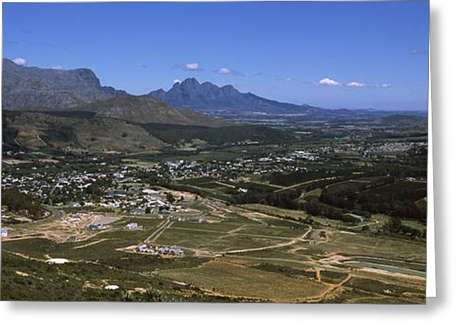 Cape Town Greeting Cards - Aerial View Of A Valley, Franschhoek Greeting Card by Panoramic Images