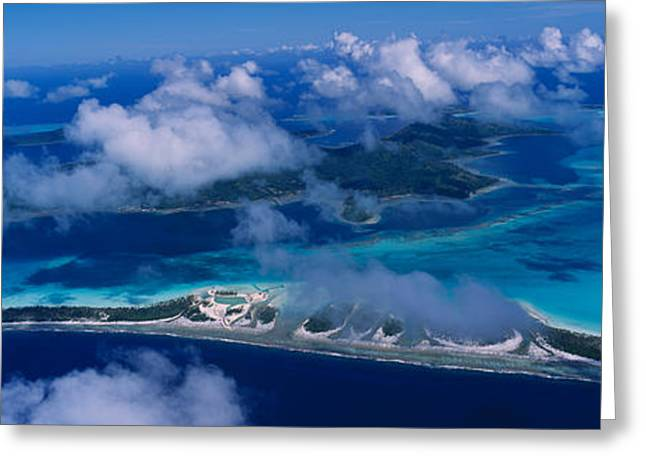 Panoramic Ocean Greeting Cards - Aerial View Of An Island, Bora Bora Greeting Card by Panoramic Images