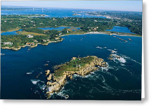 New England Ocean Greeting Cards - Aerial View Of An Island, Newport Greeting Card by Panoramic Images