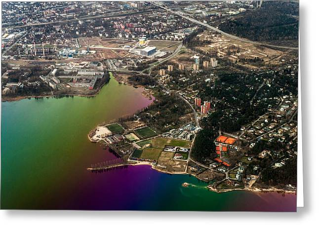 Unique View Greeting Cards - Aerial View of Bay. Rainbow Earth Greeting Card by Jenny Rainbow