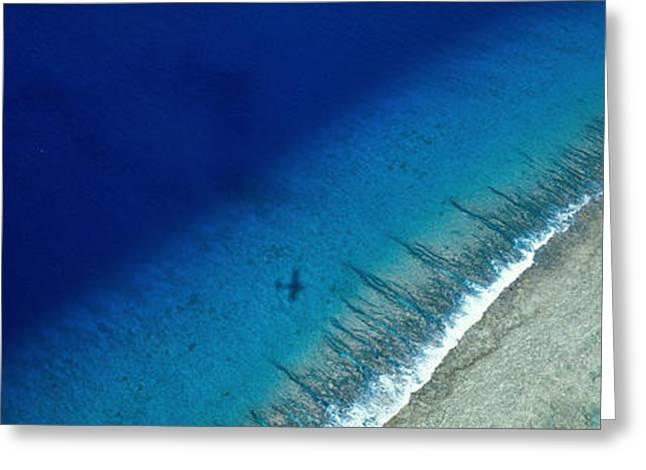 Ocean Panorama Greeting Cards - Aerial View Of Beach, Tetiaroa Island Greeting Card by Panoramic Images