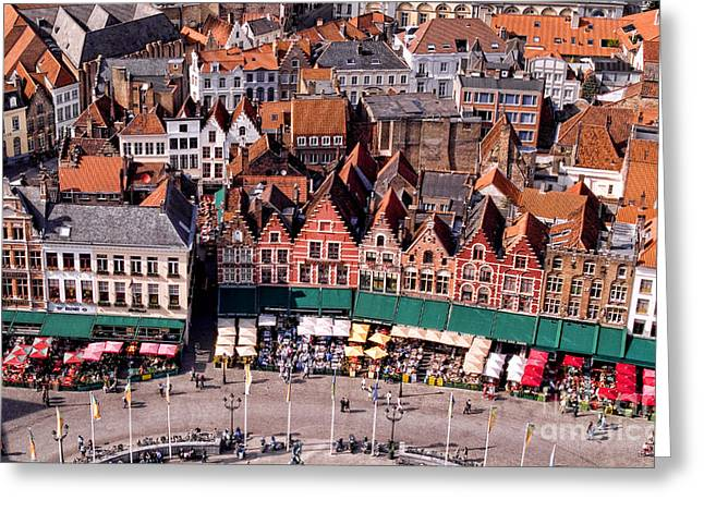 European Markets Greeting Cards - Aerial View Of Belgium Market Place Greeting Card by Bill Bachmann