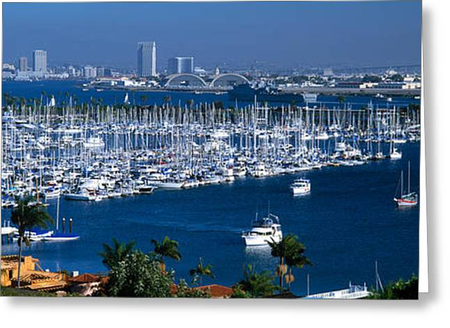 Masts Greeting Cards - Aerial View Of Boats Moored Greeting Card by Panoramic Images