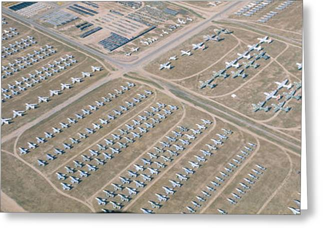 Airstrip Greeting Cards - Aerial View Of Bone Yard, F4 Fighter Greeting Card by Panoramic Images