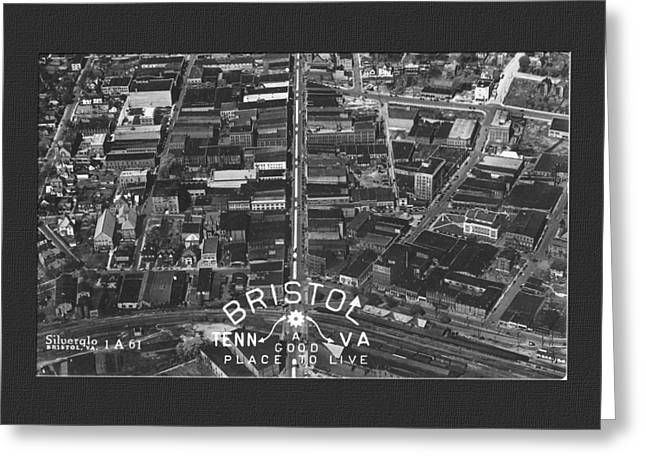 City Lights Greeting Cards - Aerial View of Bristol TN Va Greeting Card by Denise Beverly