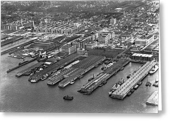 Boats At Dock Greeting Cards - Aerial view of Brooklyn Docks Greeting Card by Underwood & Underwood
