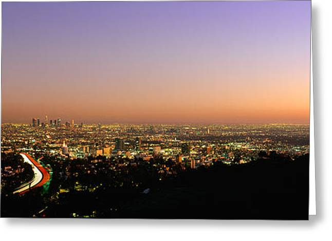 Los Angeles Freeways Greeting Cards - Aerial View Of Buildings In A City Greeting Card by Panoramic Images