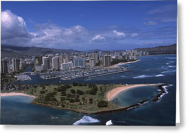 Ala Moana Greeting Cards - Aerial View Of Buildings Greeting Card by Panoramic Images