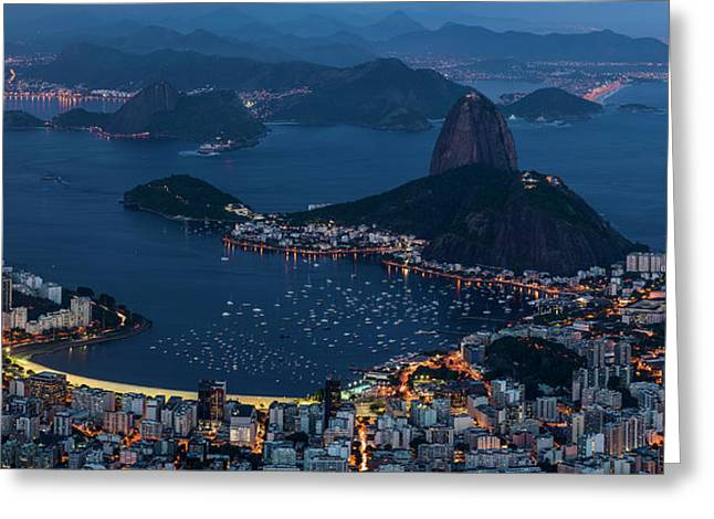 Aerial View Of City From Christ Greeting Card by Panoramic Images
