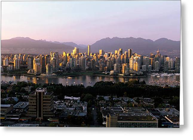 British Columbia Greeting Cards - Aerial View Of Cityscape At Sunset Greeting Card by Panoramic Images
