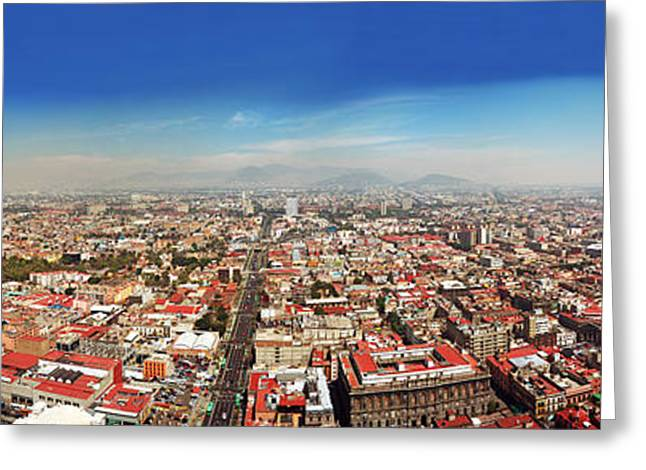 Mexico City Greeting Cards - Aerial View Of Cityscape, Mexico City Greeting Card by Panoramic Images