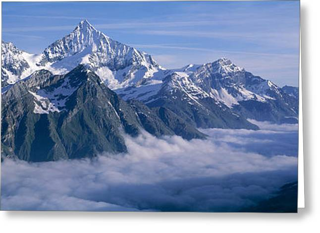 European Alps Greeting Cards - Aerial View Of Clouds Over Mountains Greeting Card by Panoramic Images