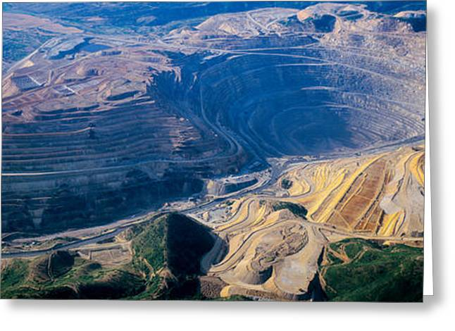 Mine Pit Greeting Cards - Aerial View Of Copper Mines, Utah, Usa Greeting Card by Panoramic Images