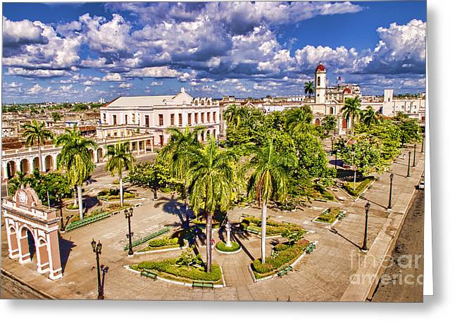 Aerial View Of Downtown Square Greeting Card by Bill Bachmann