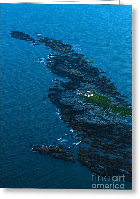 Acadia National Park Photographs Greeting Cards - Aerial View Of Egg Rock Lighthouse Greeting Card by Diane Diederich