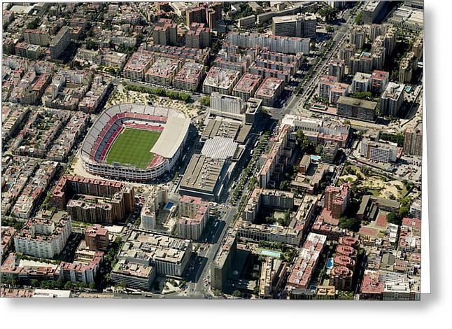 Liga Greeting Cards - Aerial View Of Estadio Ramón Sánchez Greeting Card by Blom ASA