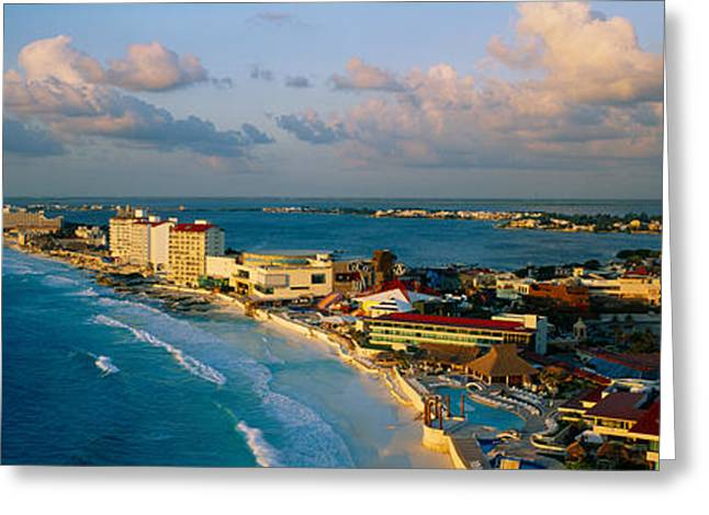 Cancun Greeting Cards - Aerial View Of Hotels And Resorts Greeting Card by Panoramic Images