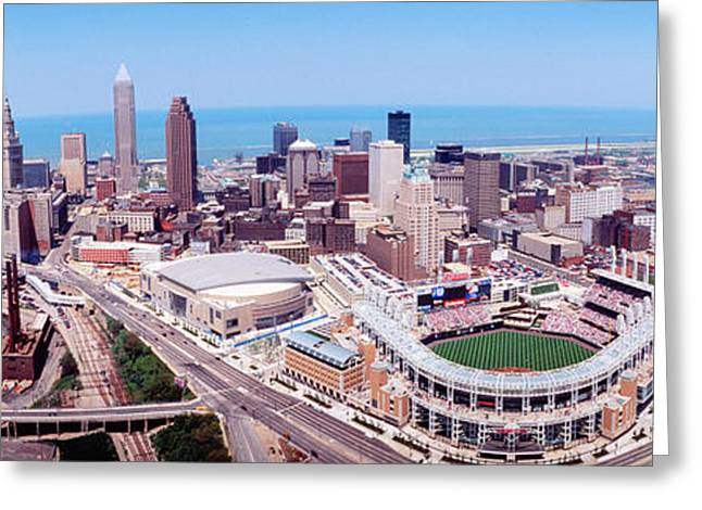 Baseball Stadiums Greeting Cards - Aerial View Of Jacobs Field, Cleveland Greeting Card by Panoramic Images