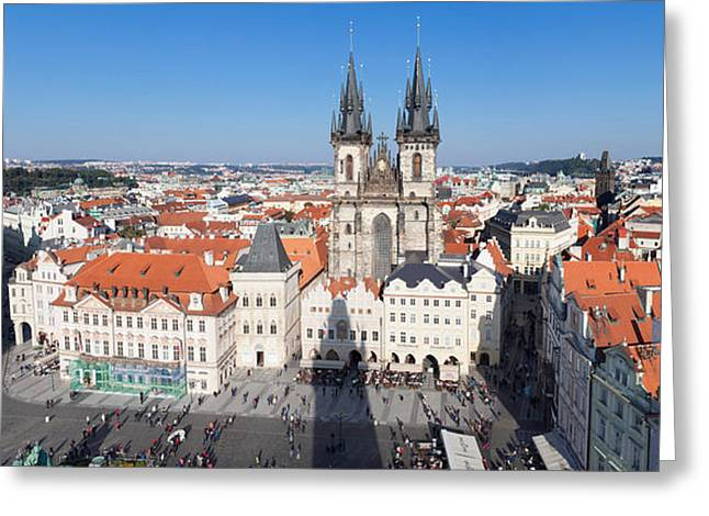 Town Square Greeting Cards - Aerial View Of Jan Hus Memorial And Tyn Greeting Card by Panoramic Images